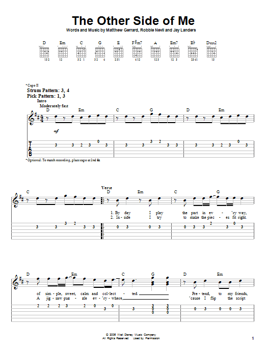Tablature guitare The Other Side Of Me de Hannah Montana - Tablature guitare facile