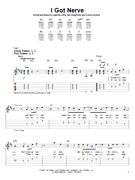 I Got Nerve (Easy Guitar Tab)
