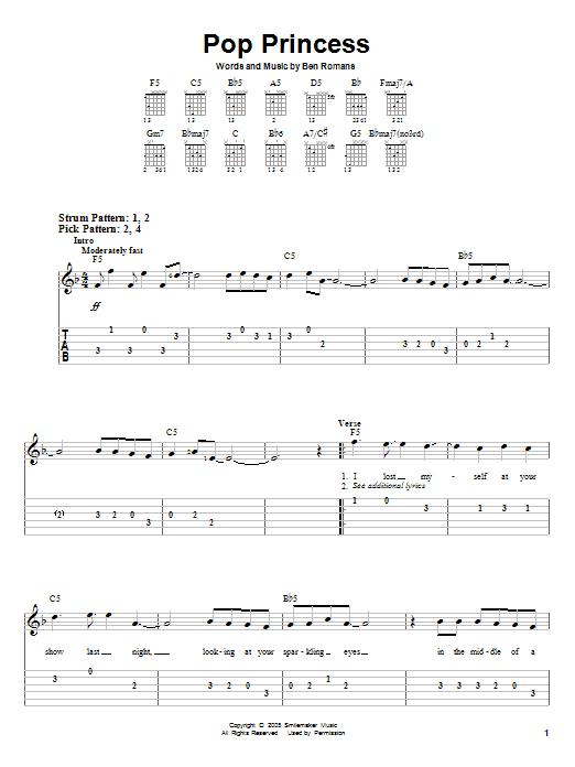 Tablature guitare Pop Princess de The Click Five - Tablature guitare facile