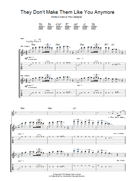 They Don't Make Them Like You Anymore (Guitar Tab)