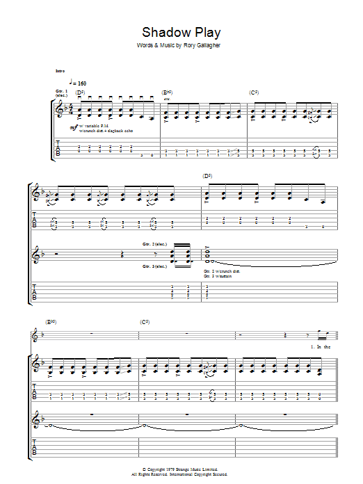 Shadow Play (Guitar Tab)