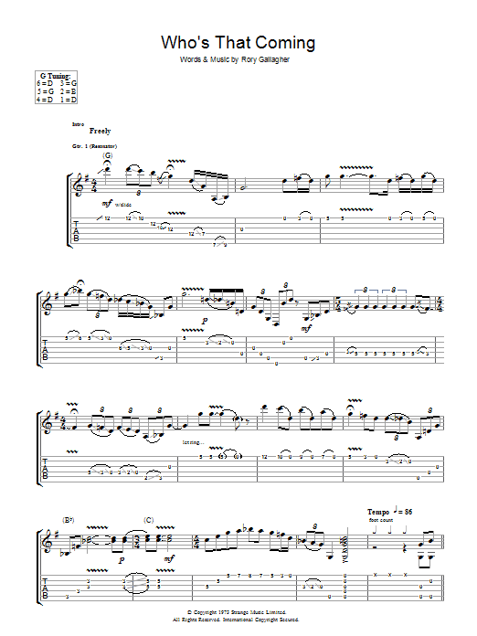 Who's That Coming (Guitar Tab)