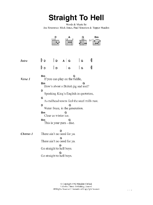 Straight To Hell Sheet Music
