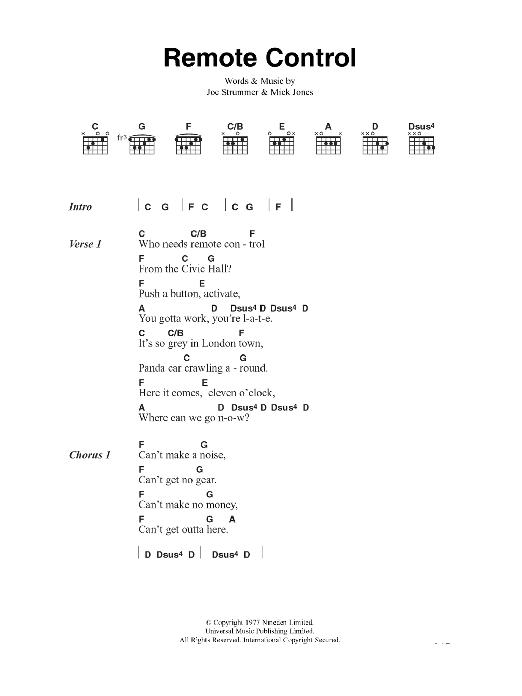 Remote Control Sheet Music