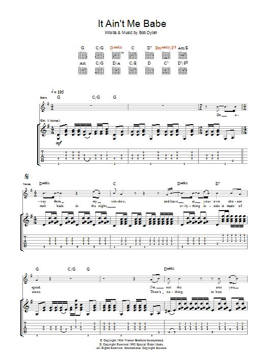 It Ain't Me Babe (Guitar Tab)