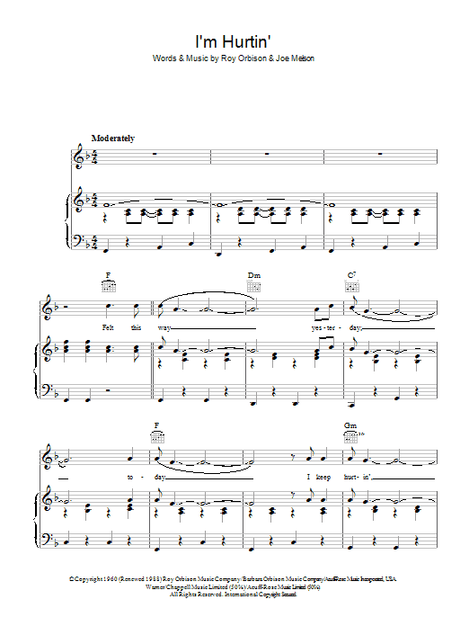 I'm Hurtin' (Piano, Vocal & Guitar)