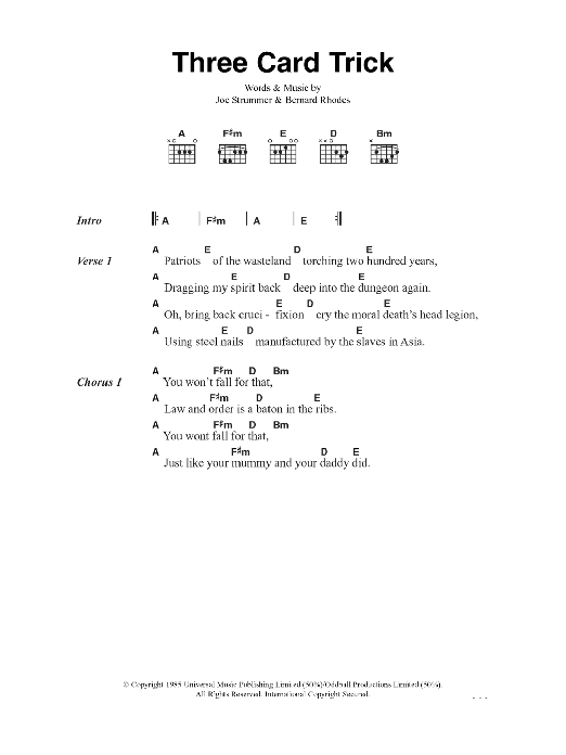 Three Card Trick Sheet Music