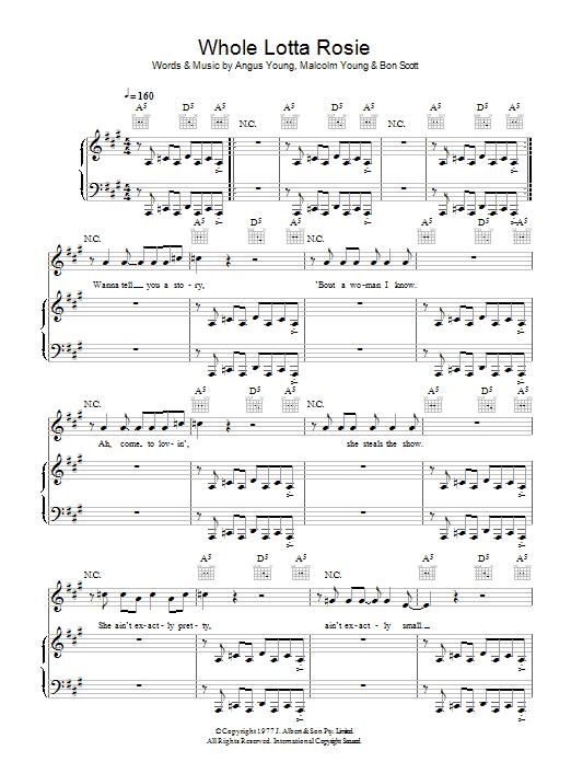 Whole Lotta Rosie (Piano, Vocal & Guitar)