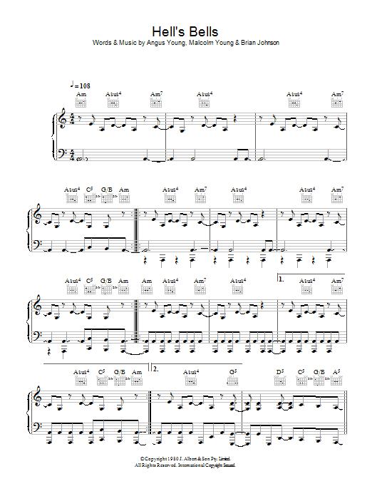 Hells Bells (Piano, Vocal & Guitar)