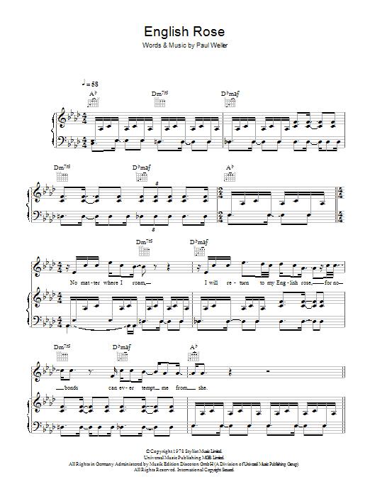 English Rose (Piano, Vocal & Guitar)
