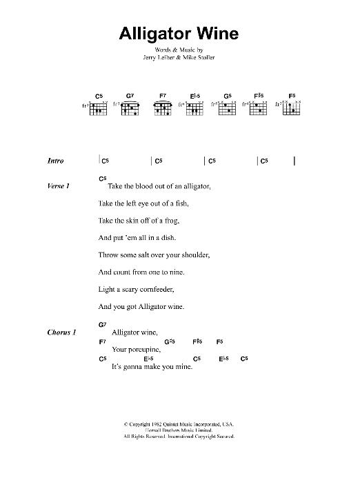 Alligator Wine Sheet Music | Jeff Buckley | Lyrics & Chords