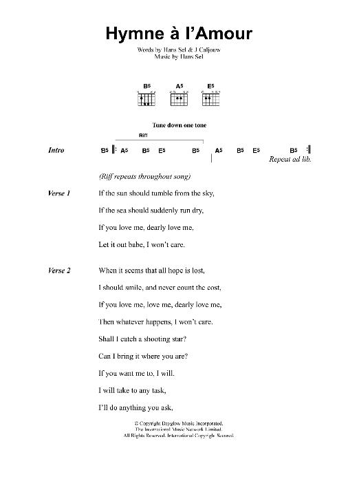 Hymne A Lamour Sheet Music Jeff Buckley Lyrics Chords