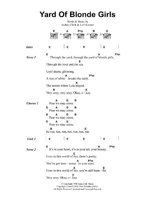 Yard Of Blonde Girls | Jeff Buckley | Lyrics & Chords