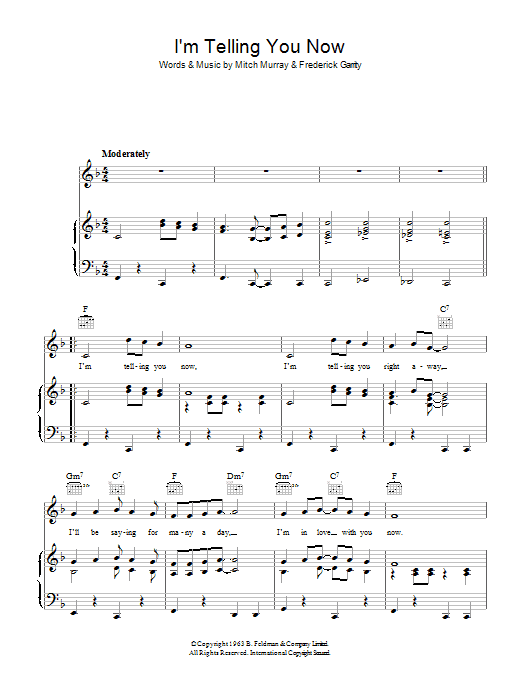 I'm Telling You Now Sheet Music