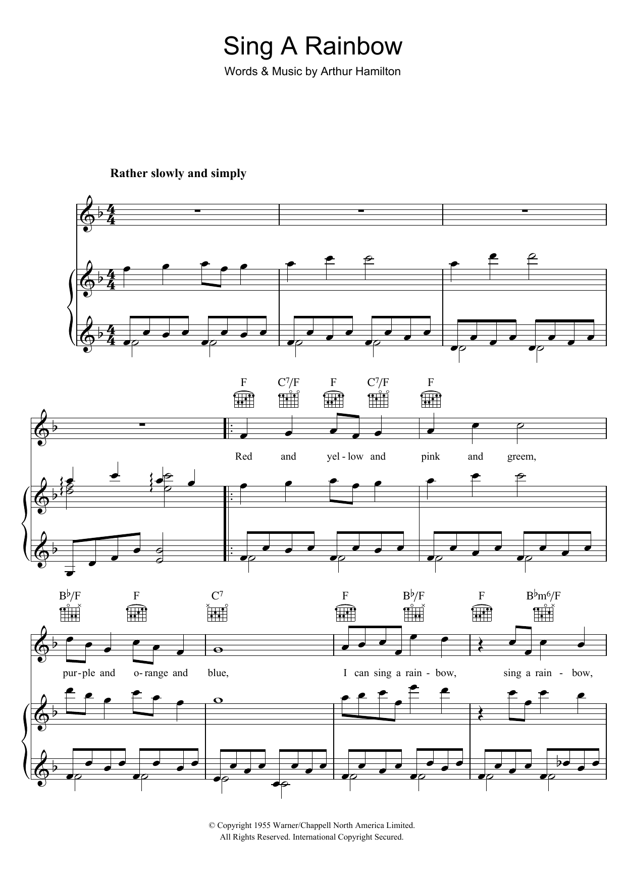 Sing A Rainbow (Piano, Vocal & Guitar)