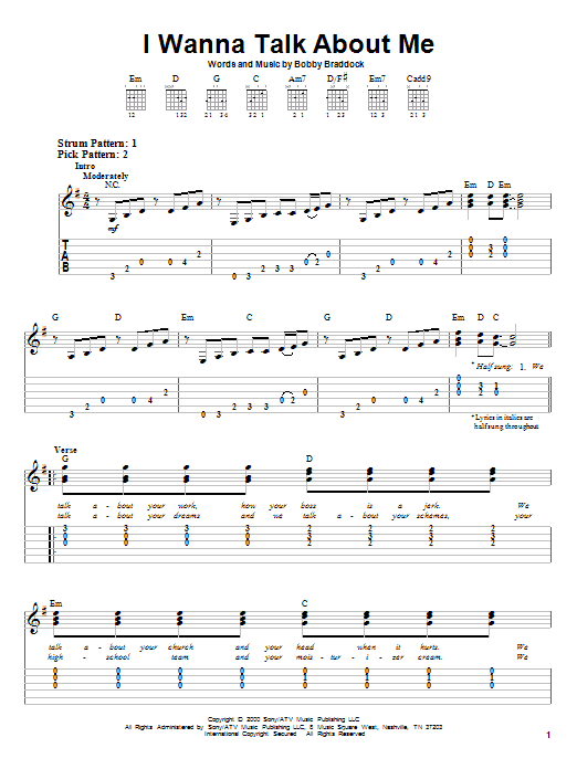 I Wanna Talk About Me By Toby Keith Easy Guitar Tab Guitar
