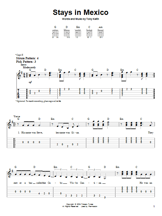 Tablature guitare Stays In Mexico de Toby Keith - Tablature guitare facile