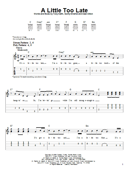 Tablature guitare A Little Too Late de Toby Keith - Tablature guitare facile