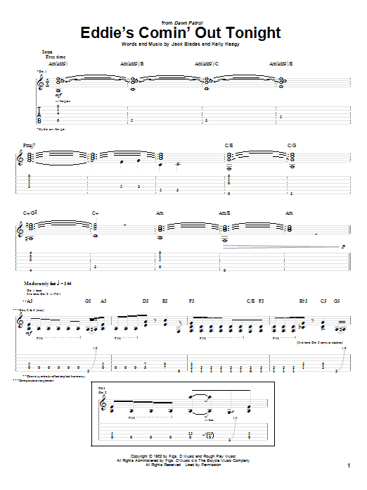 Eddie's Comin' Out Tonight (Guitar Tab)