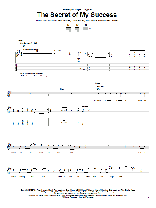 Tablature guitare The Secret Of My Success de Night Ranger - Tablature Guitare