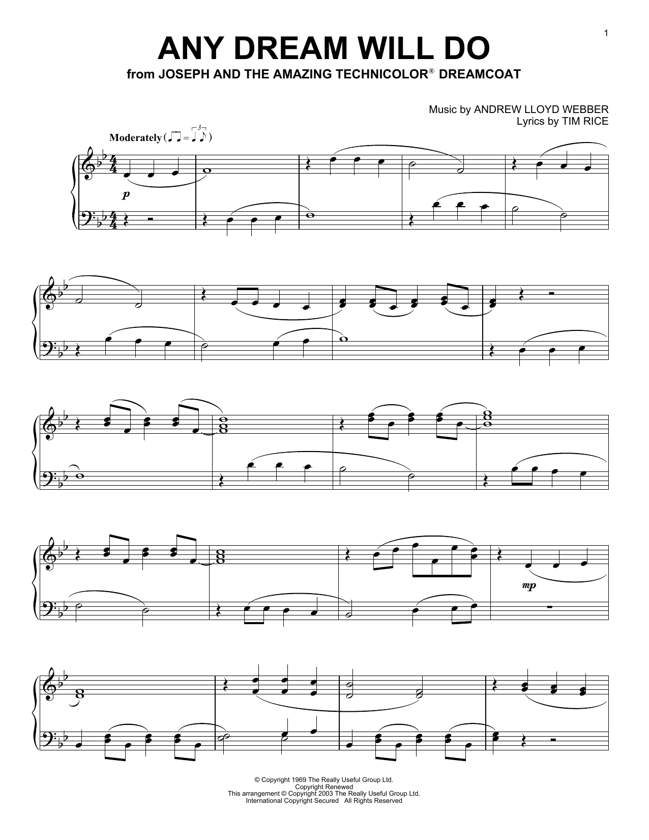 Partition piano Any Dream Will Do (from Joseph And The Amazing Technicolor Dreamcoat) de Andrew Lloyd Webber - Piano Solo