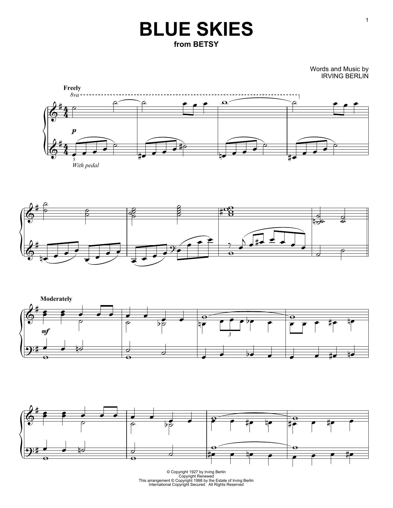 Partition piano Blue Skies de Irving Berlin - Piano Solo