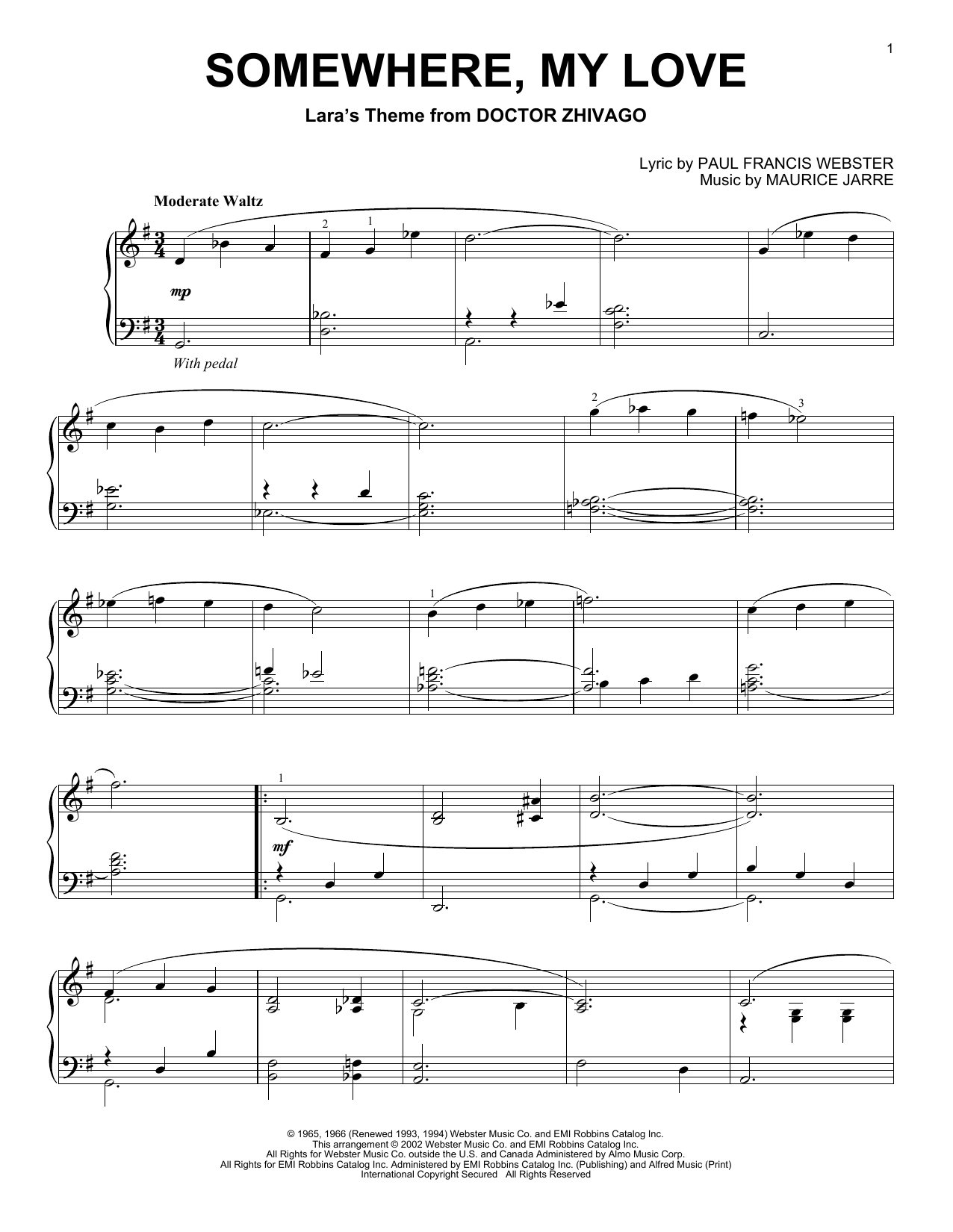 Somewhere, My Love Sheet Music