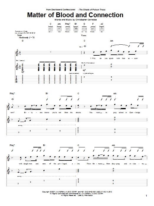 Matter Of Blood And Connection Sheet Music