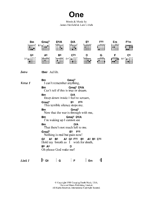 One by Metallica - Guitar Chords/Lyrics - Guitar Instructor