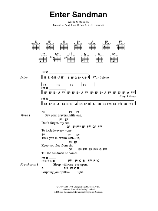 Piano piano tabs nothing else matters : Enter Sandman | Sheet Music Direct