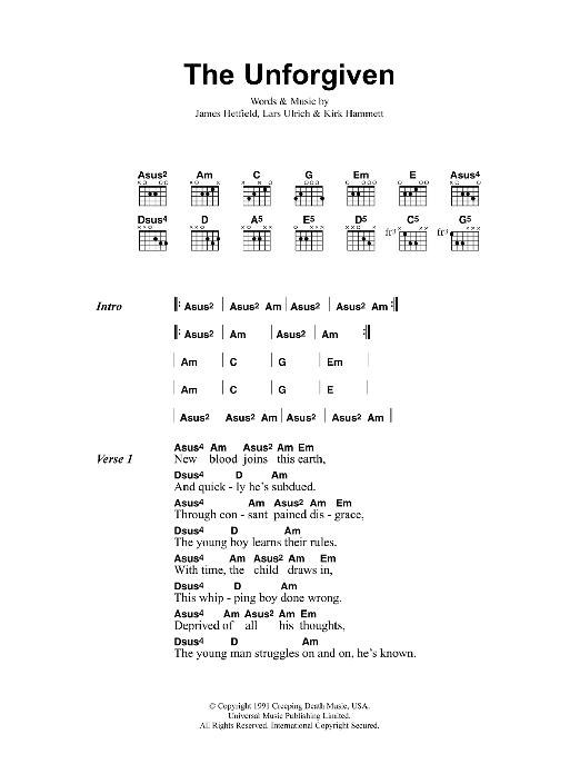 The Unforgiven Metallica Lyrics Chords