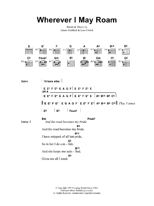 Wherever I May Roam Sheet Music Direct