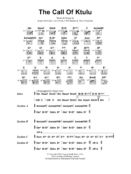 The Call Of Ktulu by Metallica - Guitar Chords/Lyrics - Guitar