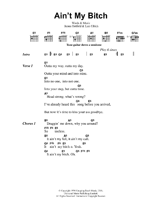 Ain't My Bitch Sheet Music