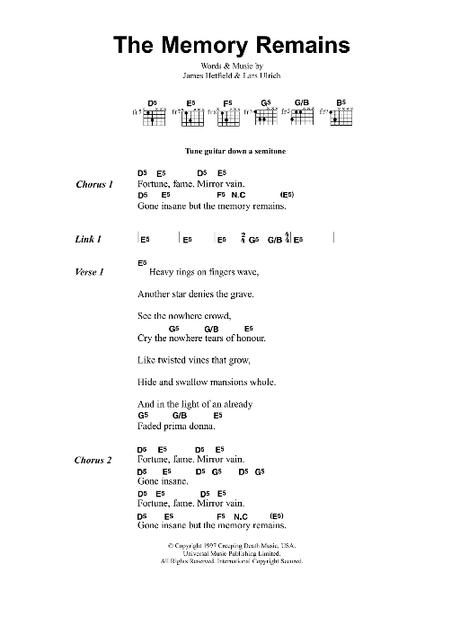 The Memory Remains Sheet Music