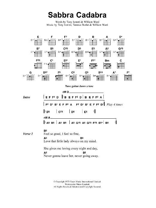 Sabbra Cadabra Sheet Music