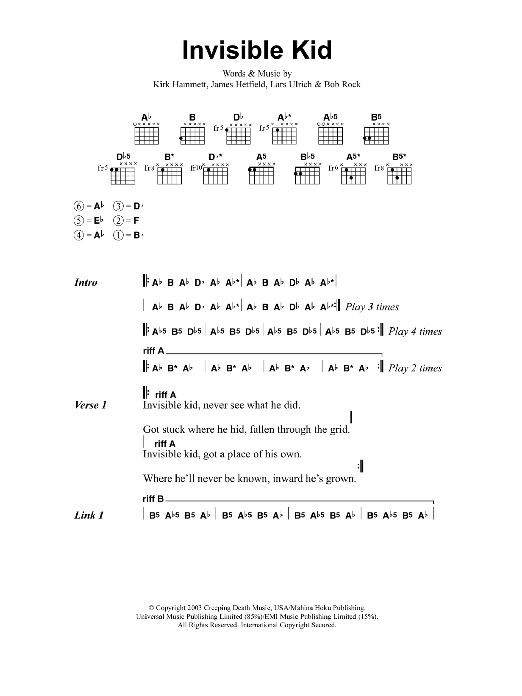 Invisible Kid Sheet Music