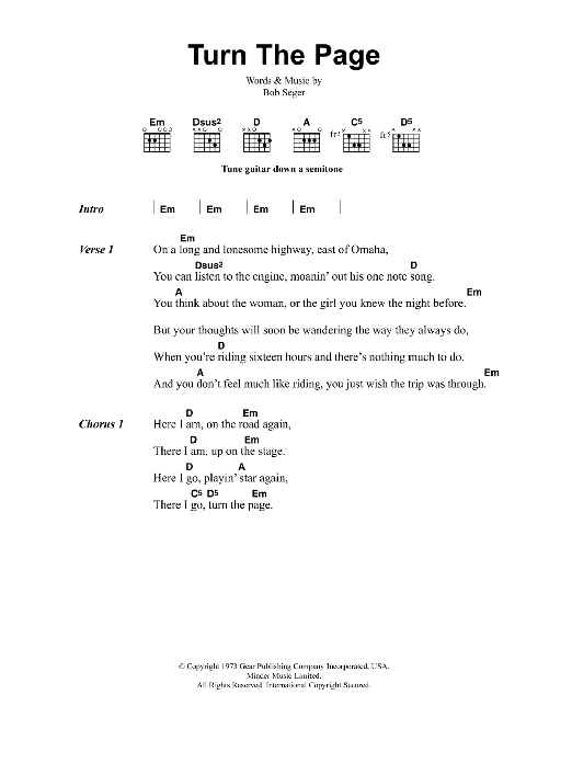 Turn The Page by Metallica - Guitar Chords/Lyrics - Guitar Instructor