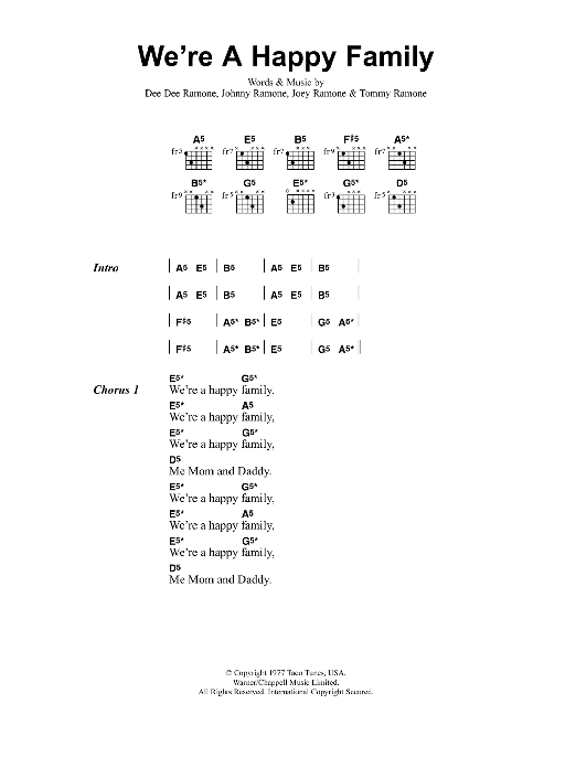 Were A Happy Family Sheet Music Metallica Lyrics Chords