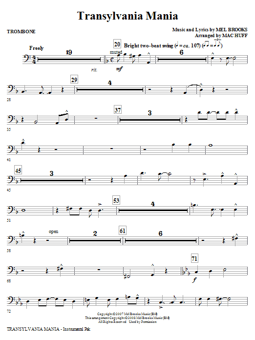 Transylvania Mania (from Young Frankenstein) - Trombone (Choir Instrumental Pak)