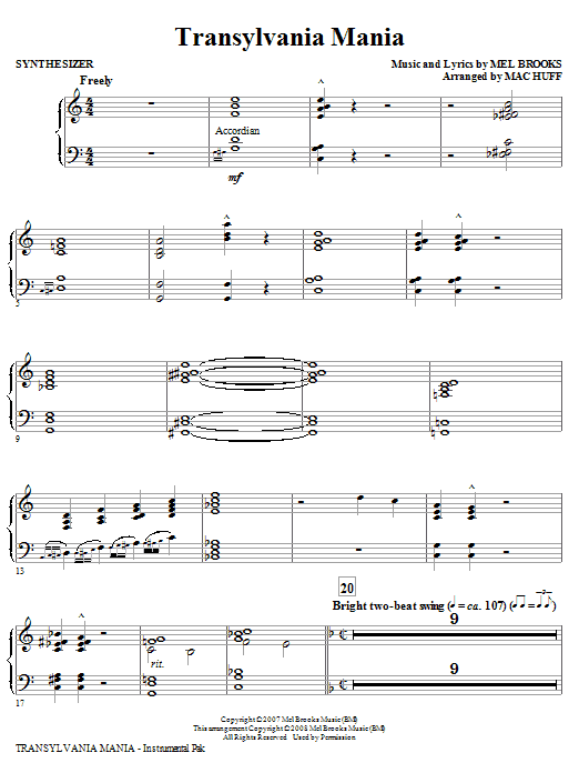 Transylvania Mania (from Young Frankenstein) - Synthesizer (Choir Instrumental Pak)