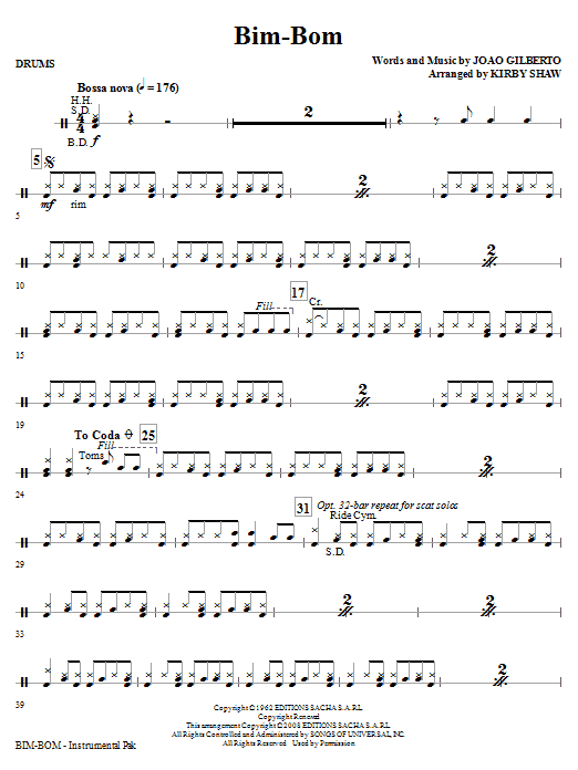 Bim-Bom - Drums Sheet Music
