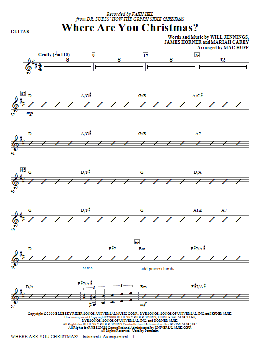 Where Are You Christmas? (arr. Mac Huff) (from How The Grinch Stole Christmas) - Guitar (Choir Instrumental Pak)