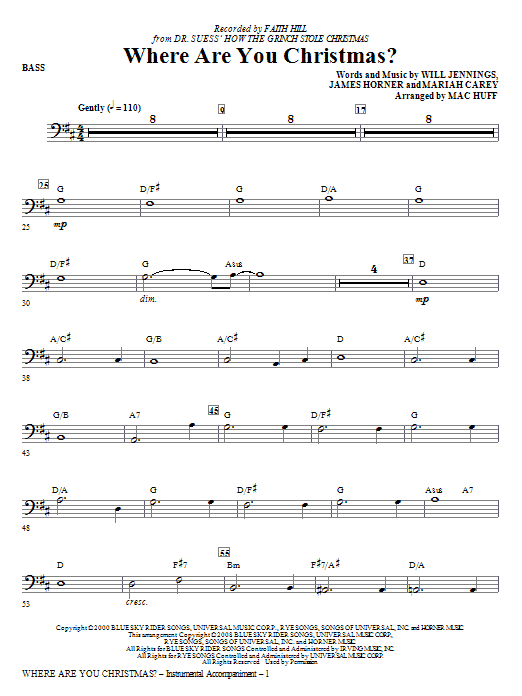 Where Are You Christmas? (arr. Mac Huff) (from How The Grinch Stole Christmas) - Bass (Choir Instrumental Pak)