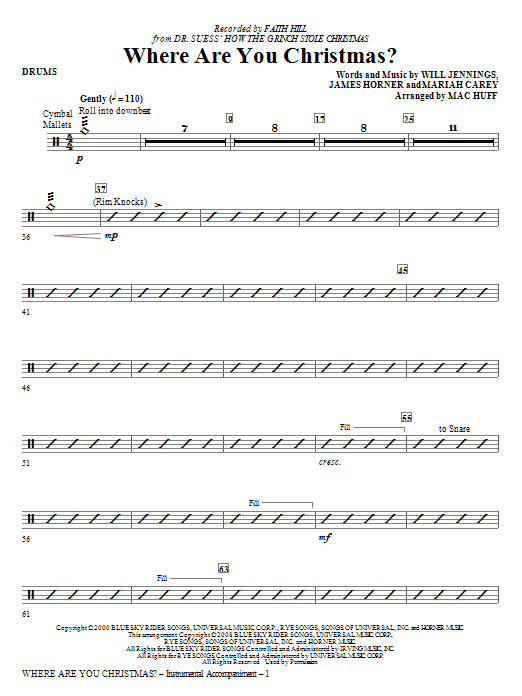 page one of Where Are You Christmas? (arr. Mac Huff) (from How The Grinch Stole Christmas) - DrumsASALTTEXT
