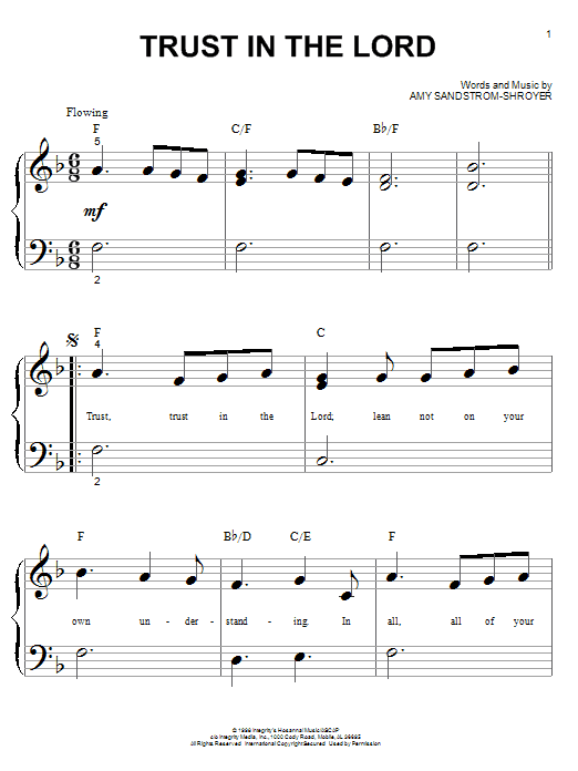 Trust In The Lord (Big Note Piano)