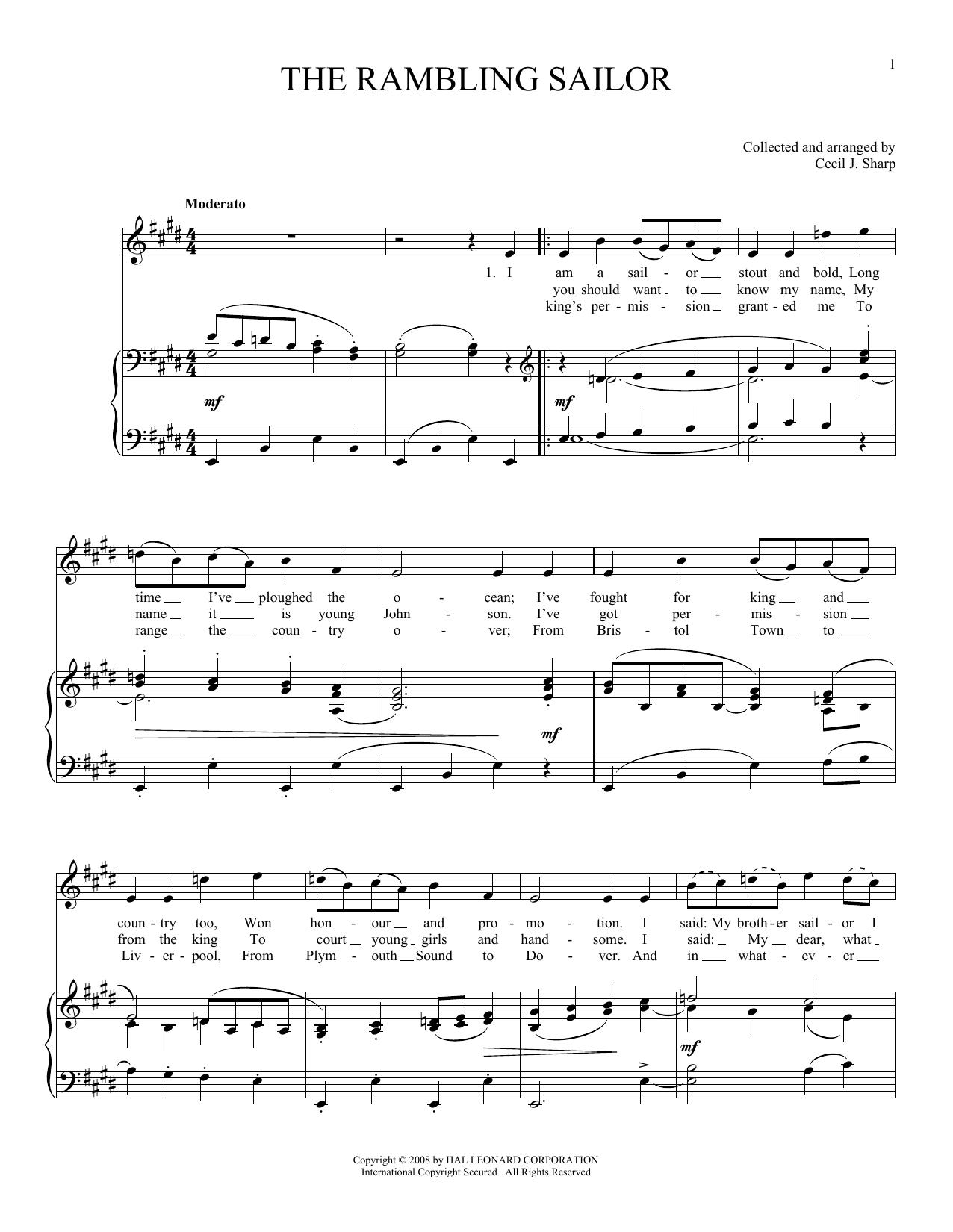 Partition piano The Rambling Sailor de Joan Frey Boytim - Piano Voix