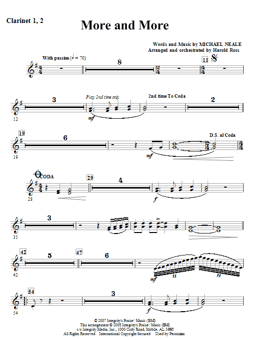 More And More - Bb Clarinet 1,2 Sheet Music