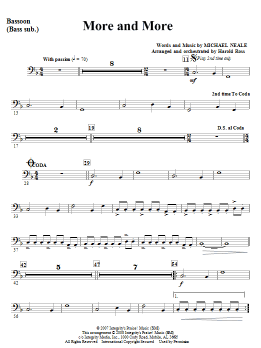 More And More - Bassoon Sheet Music