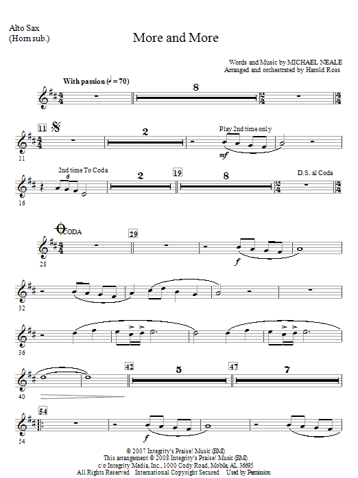 More And More - Alto Sax (Horn sub) Sheet Music